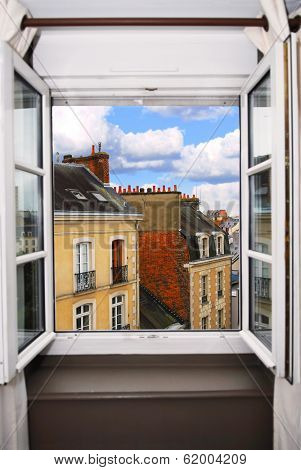 View from the open window in Rennes, France.