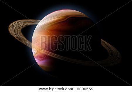 Planeta abstracto con la llamarada del sol en el espacio profundo sobre fondo negro