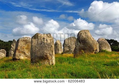 Prehistoric megalithic monuments menhirs in Carnac area in Brittany, France