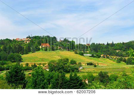 Scenic view on rural landscape in Perigord, France