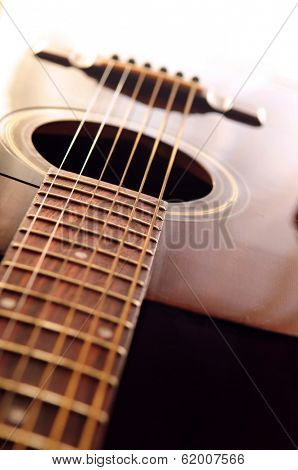 Musical instrument acoustic guitar body close up