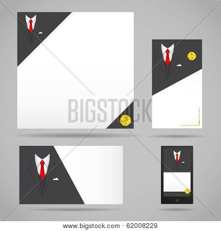 Male clothing suit card template