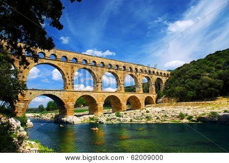 Pont du Gard is a part of Roman aqueduct in southern France near Nimes.