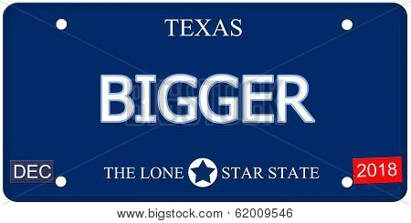 Bigger Texas Imitation License Plate