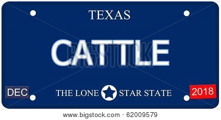 Cattle Texas Imitation License Plate
