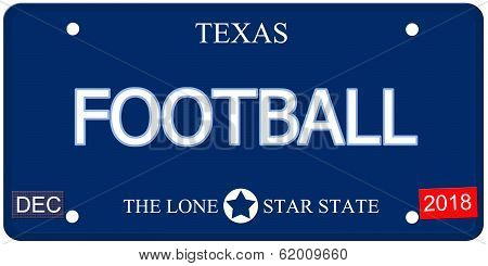 Football Texas Imitation License Plate