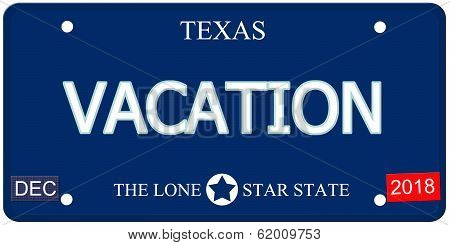 Vacation Texas Imitation License Plate