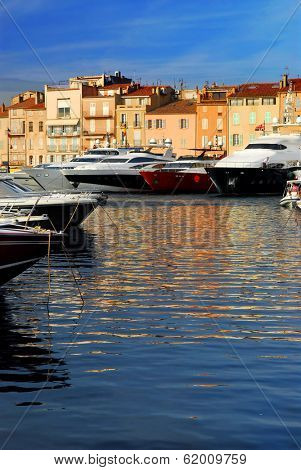 Luxury boats docked in St. Tropez in French Riviera