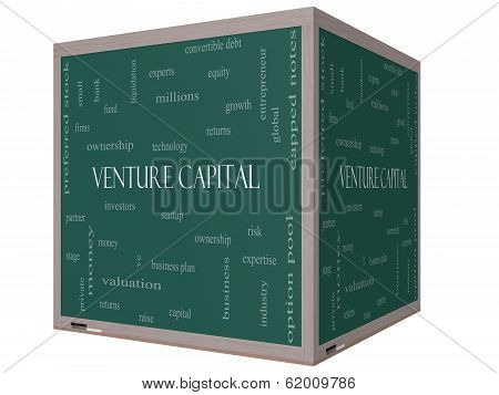 Venture Capital Word Cloud Concept On A 3D Cube Blackboard