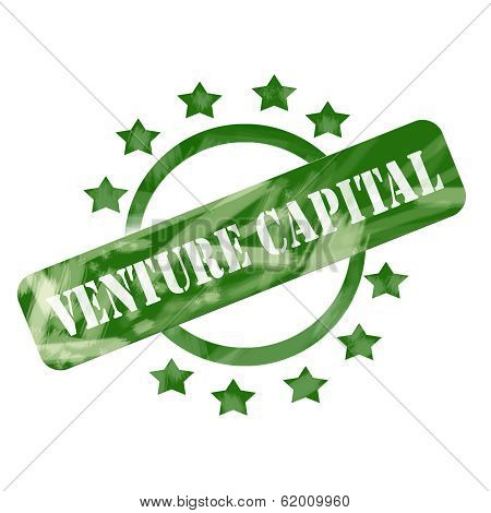 Green Weathered Venture Capital Stamp Circle And Stars Design