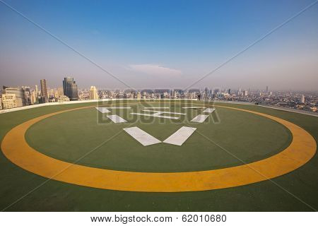 Helipad on the roof of a skyscraper