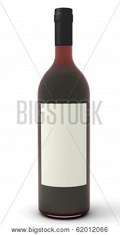 Red Wine With Blank Label.
