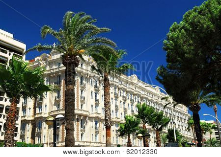 Luxury hotel on Croisette promenade in Cannes France