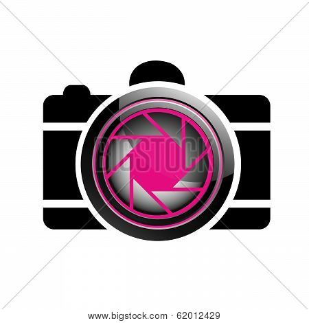 Digital Camera- photography icon with aperture symbol