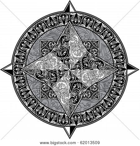 Antique Ornamental Wind Rose Isolated On White Background. Black And White Image