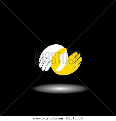 Human Hand Icons Together - Concept Vector Of Care, Love & Friendship