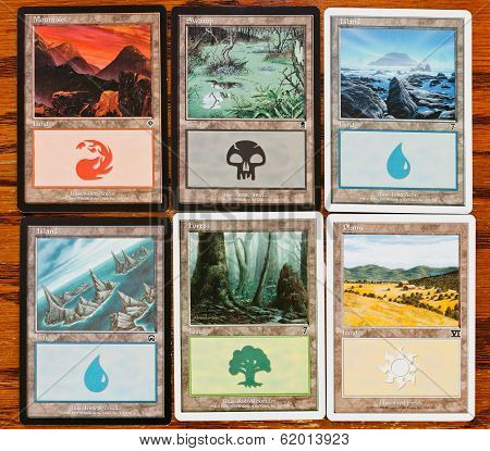 Colors And Lands Cards Of Game Magic The Gathering