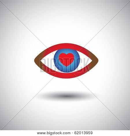 Concept Vector Icon Of Love Filled Romantic Eyes.