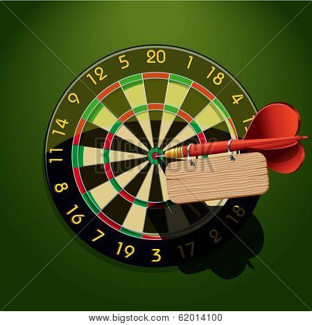 Dartboard with dart and blank table