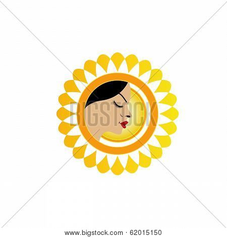 A face with a bright yellow sun