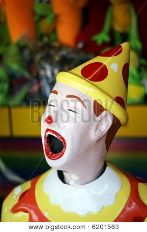 A portrait photo of a clown from child amusement park
