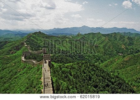 Oil Painting Stylized Photo Of The Great Wall Of China