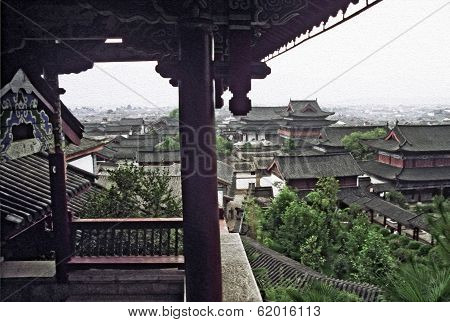 Decorative Buildings Of Palace In Lijiang, China, Oil Paint Stylization