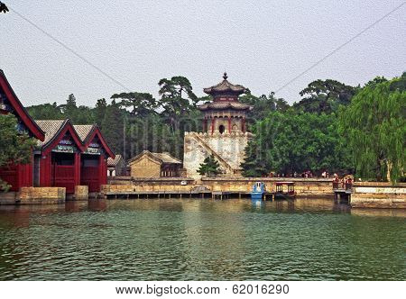 Stylized Photo Of Of Ornamental, Beautiful Buildings At Longevity Hill In Summer Palace, Beijing, Ch
