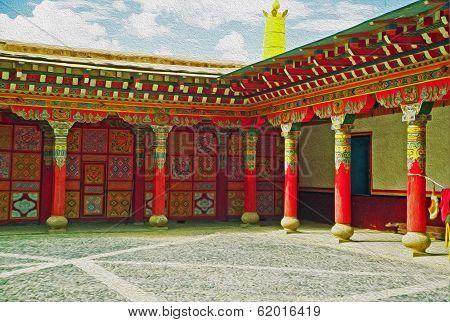 Entrance To A Tibetan Gompa, Oil Paint Stylization