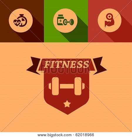 flat fitness design elements
