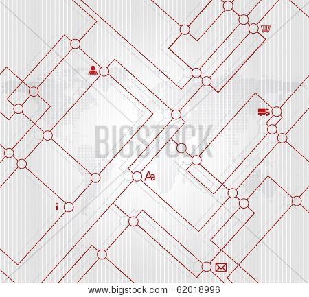 Abstract City Map Illustration Or Metro Scheme Background
