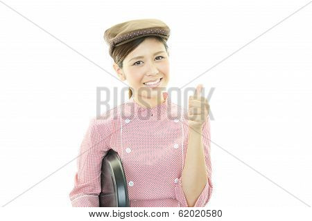 Smiling Asian waitress