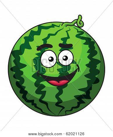 Happy cartoon green watermelon fruit