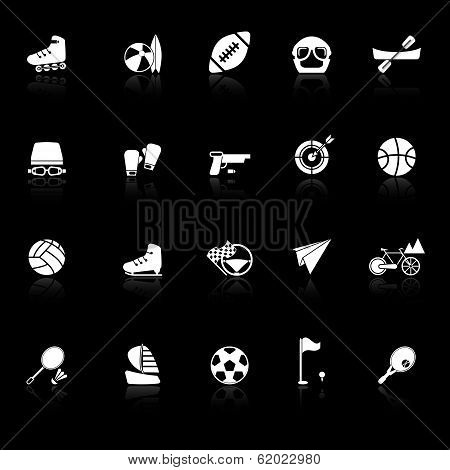 Extreme Sport Icons With Reflect On Black Background