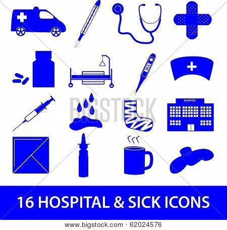 hospital and sick icon set eps10