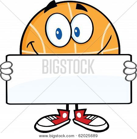 Smiling Basketball Cartoon Character Holding A Banner