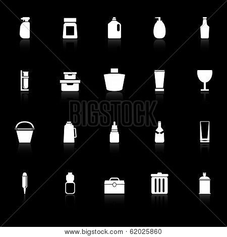 Design Package Icons With Reflect On Black Background