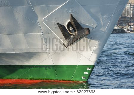 Bow Of A Large Ship In Port