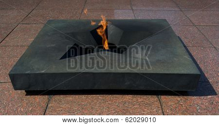 Eternal flame at Brest fortress in Belarus