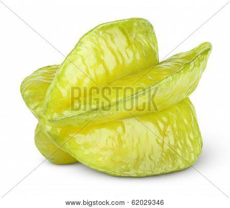 Carambola Or Starfruit On White