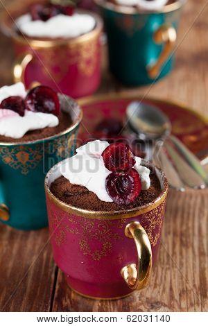 Raw Vegan Avocado Chocolate Mousse With Cherries