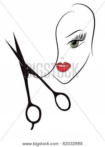 Beauty Woman Head and Scissors
