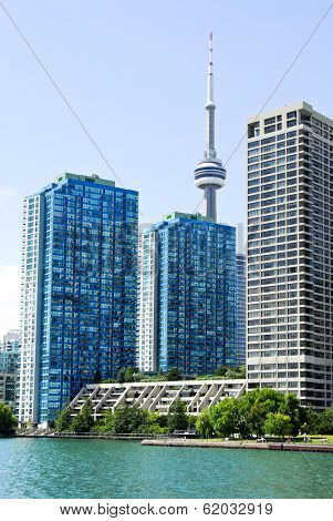 Toronto harbor skyline with CN Tower and condos