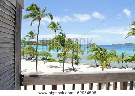 Tropical Beach, Caribbean, View From Deck