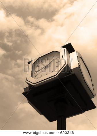 Street Clock Sepia
