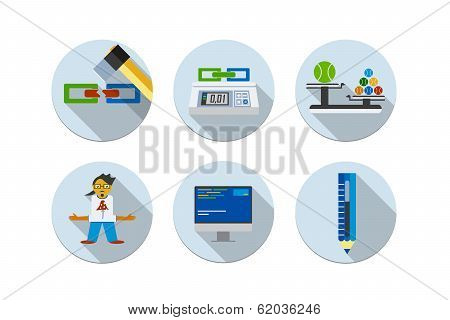 Flat design vector illustration six icons set