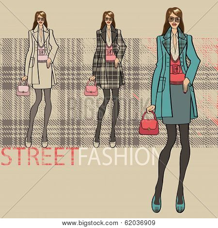 Fashionable Girl In Coat.options Ensemble.fashion Illustration