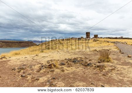 Funerary Towers In Sillustani, Peru,south America- Inca Prehistoric Ruins Near Puno,titicaca Lake Ar