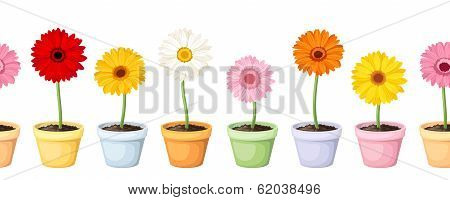 Gerbera in pots. Vector horizontal seamless background.