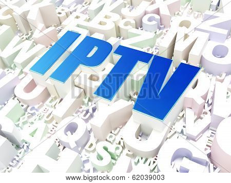 Web development concept: IPTV on alphabet background